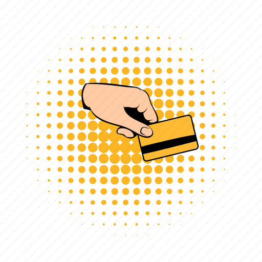 bank, card, comics, credit, hand, holding, savings icon