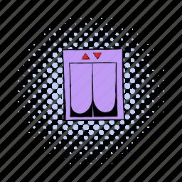 building, comics, door, elevator, floor, lift, unusual icon