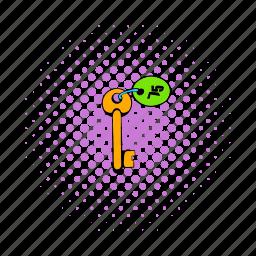 badge, comics, key, lock, number, room, square icon