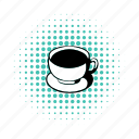 break, breakfast, cappuccino, coffee, comics, cup, line icon