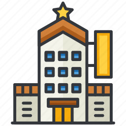 building, essentials, hotel, star icon