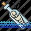 bottle, essentials, hotel, message, paper icon
