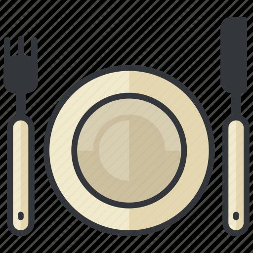 eat, food, fork, knife, plate, restaurant icon