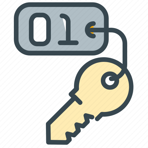access, hotel, key, private, room, security, unlock icon