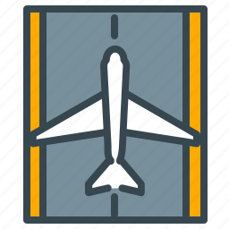 aircraft, airplane, airport, flight, landing, runway, travel icon