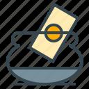 bowl, cash, facilities, hotel, money, tip icon