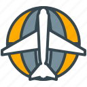 airplane, flight, globe, plane, transportation, travel, vehicle icon