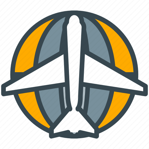 airplane, flight, globe, plane, transportation, travel, vehicle icon
