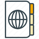 folder, globe, hotel, note, organizer, travel, vacation icon