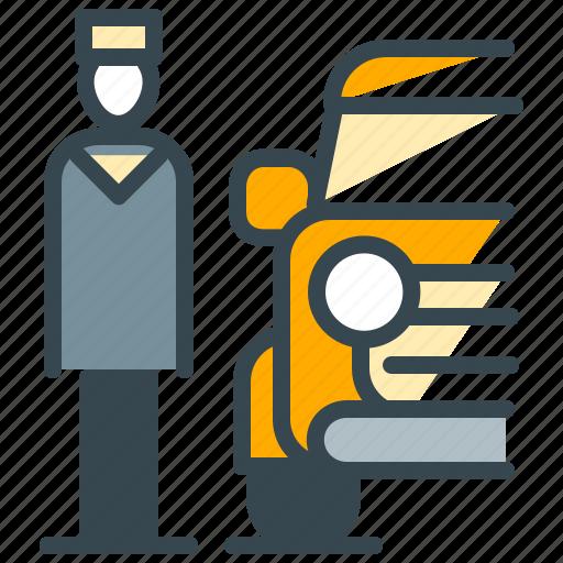 facilities, hotel, park, parking, service, valet icon