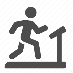equipment, exercising, fitness, gym, man, running, treadmill icon