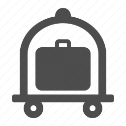 baggage, briefcase, carrier, cart, luggage, luggage cart, suitcase icon