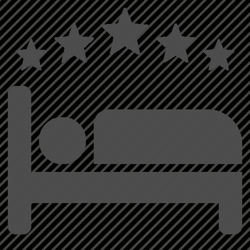 bed, five star, hotel, motel, sleep, sleeping, stars icon