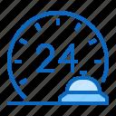 24h, hotel, reception icon