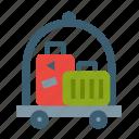 bellhop, hotel, luggage, baggage, doorman, carriage, cart