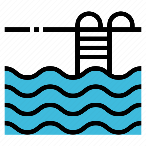 ladder, pool, swim, swimming, water icon