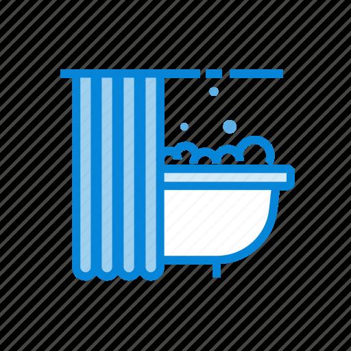 bath, bathroom, bubles, shower icon