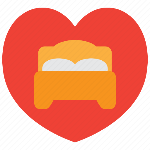 bed, bedroom, couple, furniture, heart, love, sleep icon