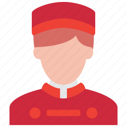 bellboy, hotel, man, people, profile, service, waiter icon