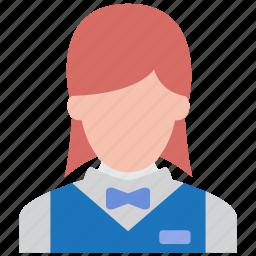 busgirl, executive, girl, hotel, lady, waitress, woman icon