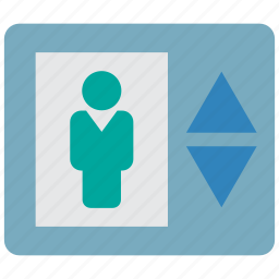 building, down, elevator, lift, move, up icon
