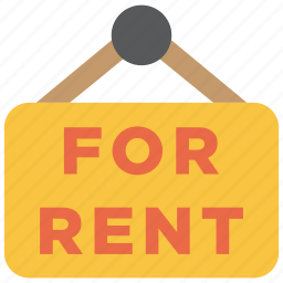 estate, for rent, home, plate, real estate, rent, sign icon
