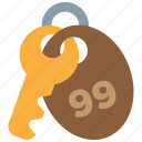 key, key chain, lock, motel, password, room, secure icon