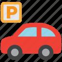 parking, car, sign, vehicle, automobile, parking lot, transport