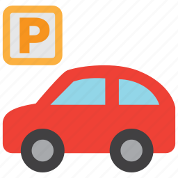 automobile, car, parking, parking lot, sign, transport, vehicle icon