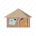 cartoon, crack, destroyed, estate, home, house, war icon