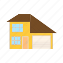 architecture, cartoon, estate, garage, home, house, residential icon