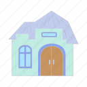 arch, architecture, cartoon, cottage, estate, home, house icon
