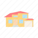 architecture, cartoon, estate, home, house, vectorgarage icon