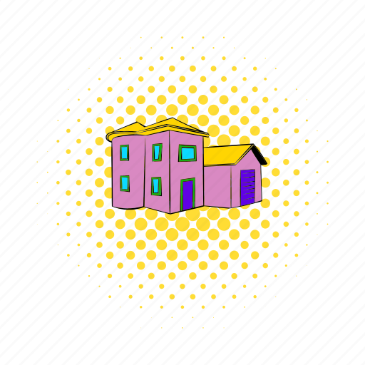 architecture, comics, home, house, real, residential, two icon