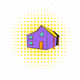 architecture, comics, estate, home, house, real, residential icon