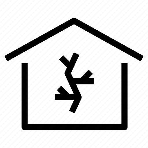 abandoned, crack, degradated, home, house, old, property icon