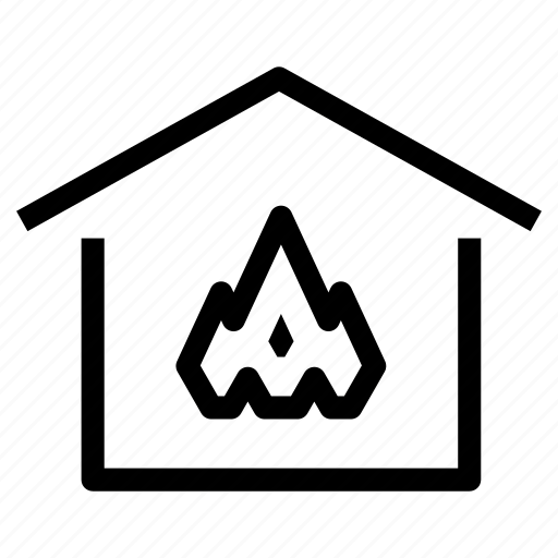 burning, fire, flames, heating, home, house, property icon