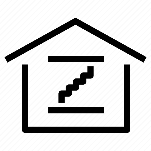 basement, floors, home, house, property, stairs, storey icon