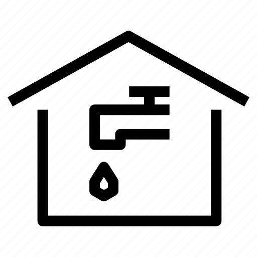 home, house, leak, property, supply, tap, water icon