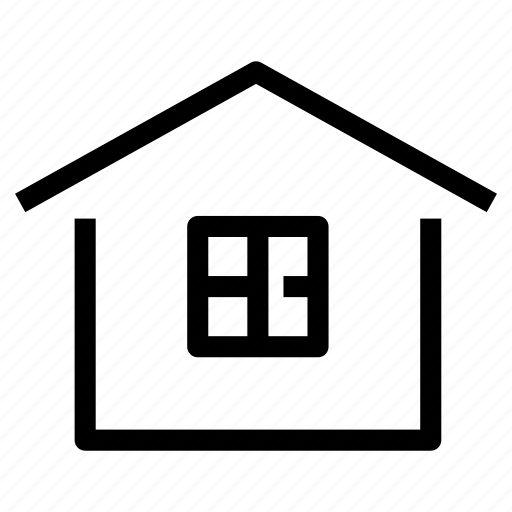 cabin, cottage, home, house, property, view, window icon