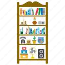 bookcase, bookshelves, decoration, furniture, interior, shelves, shelving icon