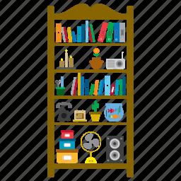 bookcase, bookshelves, decoration, furniture, interior, shelves, shelving icon