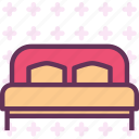 bed, double, night, rest, sleep icon