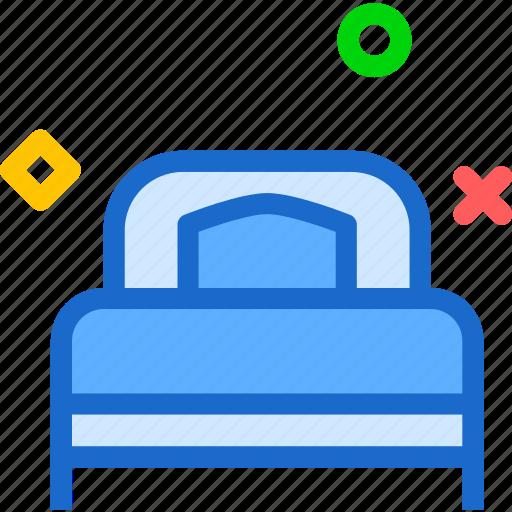 bed, night, rest, single, sleep icon