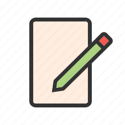 blank, business, note, notebook, paper, pencil, school icon