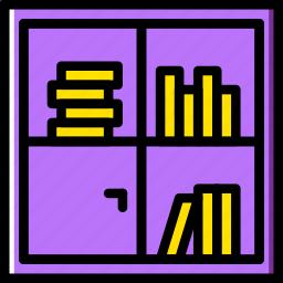 belongings, bookshelf, furniture, households icon