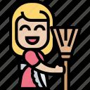 broom, housemaid, woman, dusting, tool icon