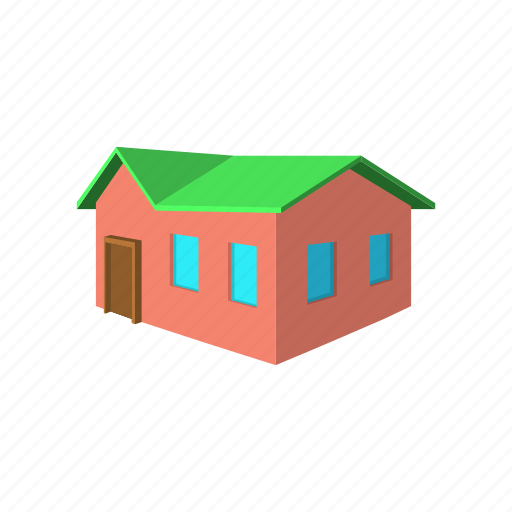architecture, cartoon, estate, home, house, red, residential icon