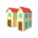 architecture, cartoon, estate, home, house, residential, two icon