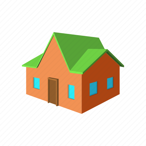 architecture, cartoon, estate, green, home, house, red icon